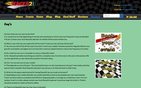 Screenshot of FAQ Page races2u.com - faq's | Racing for Parties and Events | Team Building | Trade Shows - captured June 18, 2017