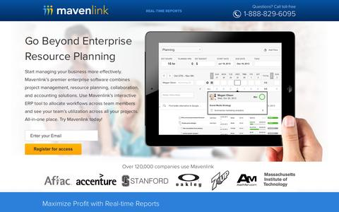 Screenshot of Landing Page mavenlink.com - Online Enterprise Resource Planning Software | Mavenlink - captured Oct. 28, 2014