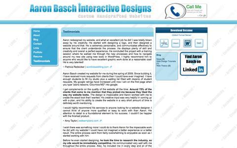 Screenshot of Testimonials Page aaronbasch.com - Testimonials   Aaron Basch Interactive Designs - captured Oct. 4, 2014