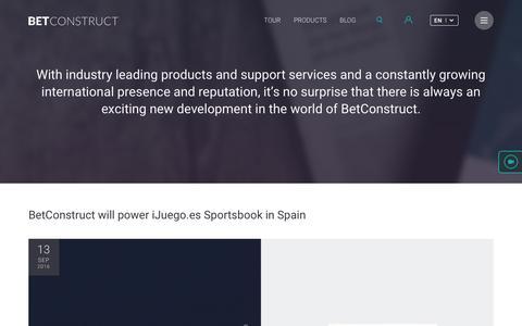 Screenshot of Press Page betconstruct.com - Press | BetConstruct - captured Sept. 15, 2016