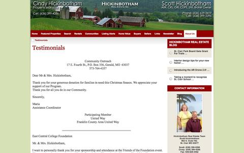 Screenshot of Testimonials Page scotthickinbotham.com - Testimonials - captured Oct. 2, 2014