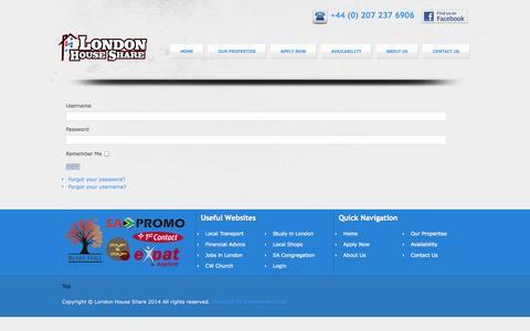 Screenshot of Login Page londonhouseshare.net - Login - captured Sept. 30, 2014