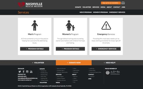 Screenshot of Services Page nashvillerescuemission.org - Services: Nashville Rescue Mission - captured Sept. 30, 2014