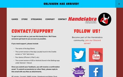 Screenshot of Contact Page handelabra.com - Contact Us — Handelabra Games - captured March 21, 2019