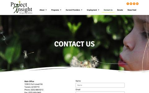 Screenshot of Contact Page projectinsight-az.com - Contact Us – Project Insight - captured July 6, 2019