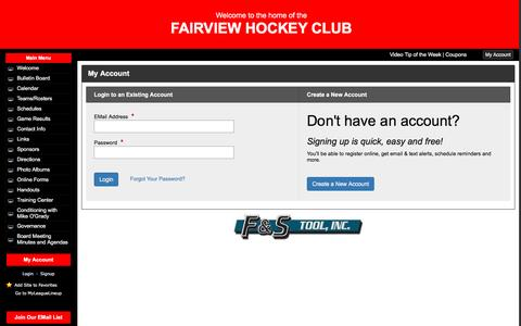 Screenshot of Signup Page leaguelineup.com - FAIRVIEW HOCKEY CLUB - (Fairview, PA)  - powered by LeagueLineup.com - captured May 25, 2016