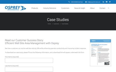 Screenshot of Case Studies Page ospreyinformatics.com - Case Studies - - captured Dec. 6, 2016