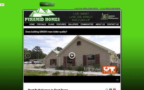 Screenshot of Home Page pyramidhomes.com - Custom Home Builder Longview, Tyler and East Texas TX Pyramid Homes Anwar Khalifa - captured Sept. 30, 2014