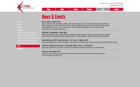 Screenshot of Press Page exseleng.com - News - captured Oct. 3, 2014