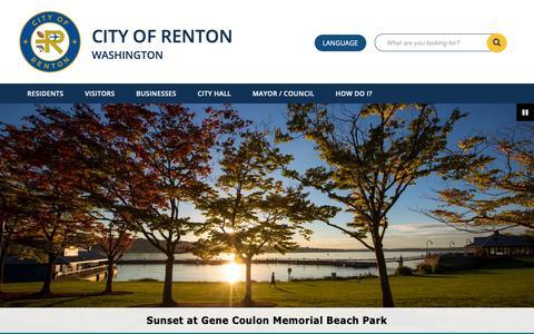 Screenshot of Home Page rentonwa.gov - Home - City of Renton - captured Sept. 28, 2018