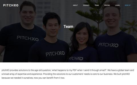Screenshot of Team Page pitchxo.com - Team : pitchXO helps startups, marketing teams and fundraisers present and track of their material - captured Oct. 28, 2014