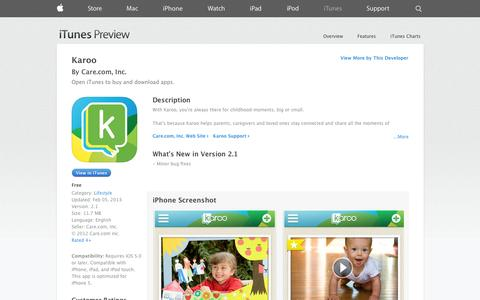 Screenshot of iOS App Page apple.com - Karoo on the App Store on iTunes - captured Oct. 22, 2014
