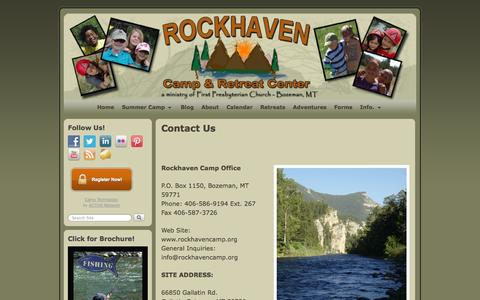 Screenshot of Contact Page rockhavencamp.org - Contact Us | Rockhaven Camp and Retreat Center - captured Oct. 26, 2014