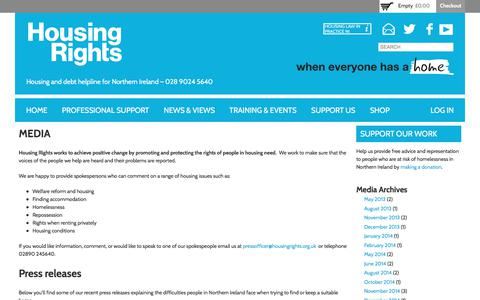 Screenshot of Press Page housingrights.org.uk - Media | Housing Rights - captured Sept. 13, 2017