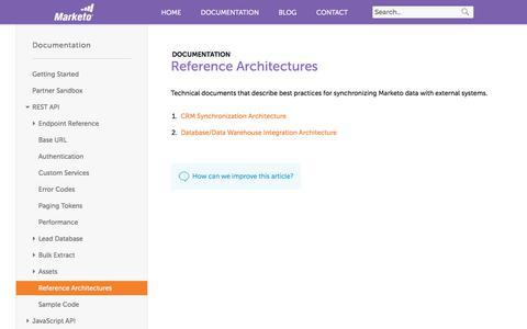 Screenshot of marketo.com - Reference Architectures - Marketo Developers - captured June 8, 2017