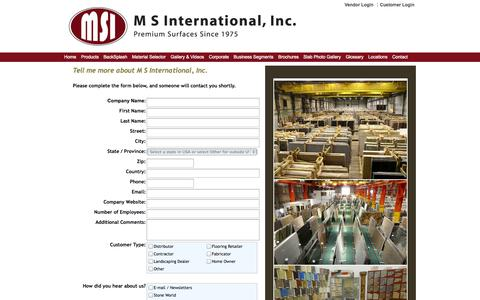 Screenshot of Contact Page msistone.com - Contact Us | To Request Additional Information about MSI's Premium Natural Stone         products | M S International, Inc. - captured Sept. 19, 2014