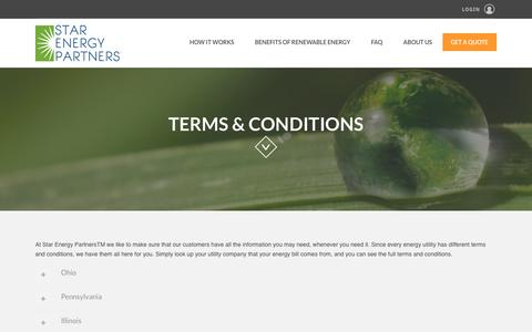 Screenshot of Terms Page starenergypartners.com - Renewable Energy | Terms & Conditions | Star Energy Partners - captured Dec. 17, 2016