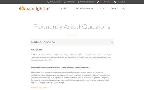 Screenshot of FAQ Page sunlighten.com - Frequently Asked Questions - Sunlighten - captured Dec. 5, 2016