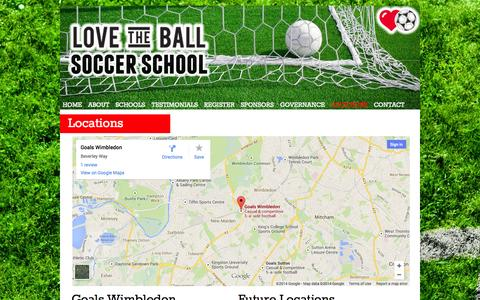 Screenshot of Locations Page lovetheball.com - LOCATIONS - Love The Ball...Play The Game... - captured Sept. 30, 2014