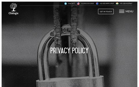 Screenshot of Privacy Page clixlogix.com - Privacy Policy - Clixlogix - captured Sept. 28, 2018