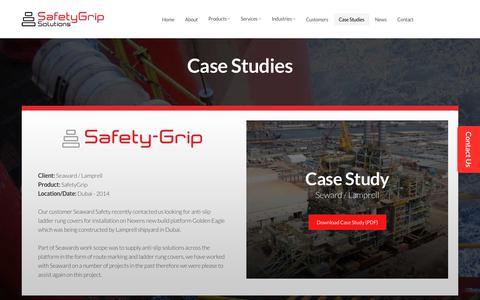 Screenshot of Case Studies Page safetygripsolutions.com - Case Studies - SafetyGrip Solutions Ltd - captured Sept. 27, 2017