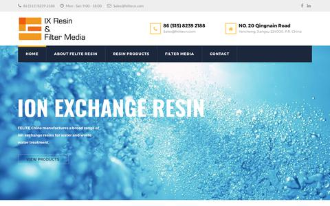 Screenshot of Home Page felitecn.com - Innovations In Ion Exchange Resin, Dust Collector Filter Bag - captured Oct. 13, 2017