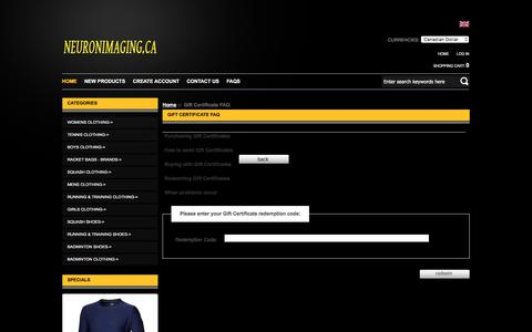 Screenshot of FAQ Page neuronimaging.ca - Gift Certificate FAQ : Running & Training Clothing and Shoes for men,women,boys,girls sale in canada shop - captured June 30, 2018