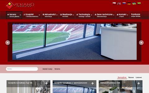 Screenshot of Home Page verano-konwektor.pl - Ogrzewanie kanałowe, grzejniki kanałowe, naścienne,  stojące i klimakonwektory - Verano konwektor - captured Jan. 26, 2015