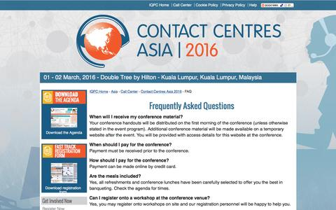 Screenshot of FAQ Page contactcentresasia.com - Contact Centres Asia 2016 - FAQs - captured May 26, 2016