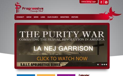 Screenshot of Home Page progressivecc.org - Progressive Community Church - captured Sept. 18, 2015