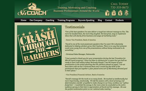 Screenshot of Testimonials Page sircoach.com - Testimonials: Professional Business Coaching For Financial Advisors, Planners - captured Oct. 9, 2014