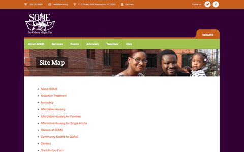 Screenshot of Site Map Page some.org - Site Map | So Others Might Eat - captured Nov. 2, 2014