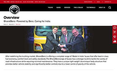 Screenshot of About Page bharatbenz.com - Official Website of BharatBenz | Commercial Vehicles India - captured Nov. 8, 2018