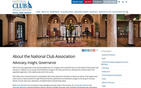 Screenshot of About Page nationalclub.org - National Club Association - About the National Club Association - captured Oct. 19, 2017