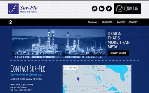 Screenshot of Contact Page Locations Page sur-flo.net - Sur-Flo Meters & Controls - Contact Us - captured Dec. 2, 2016