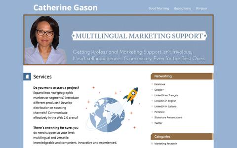 Screenshot of Services Page catherinegason.com - Catherine Gason, Trilingual Virtual Assistant and Marketer. Services. - captured Sept. 29, 2014