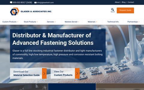 Screenshot of Home Page glaserbolt.com - Glaser Bolt   Glaser & Associates, Inc. - captured Jan. 28, 2016