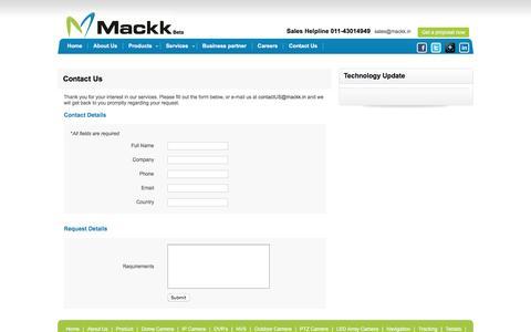 Screenshot of Contact Page mackk.in - Mackk Networks - captured Feb. 3, 2016