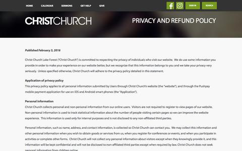 Screenshot of Privacy Page christchurchil.org - Privacy and Refund Policy | Christ Church - Lake Forest, Highland Park, and Grayslake, IL - captured Nov. 5, 2016