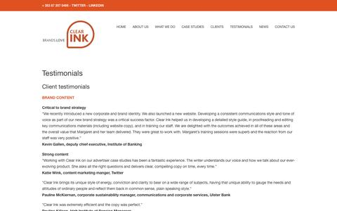 Screenshot of Testimonials Page clearink.ie - Testimonials • Clear Ink - captured July 14, 2016