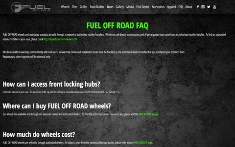 Screenshot of FAQ Page fueloffroad.com - FUEL OFF ROAD FAQ - Fuel Off-Road Wheels - captured Jan. 22, 2016