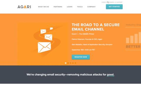 Screenshot of Home Page agari.com - Agari - DMARC - Protection from Spam, Phishing and Malware Attack - captured Sept. 13, 2014