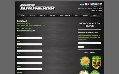 Screenshot of Contact Page fairfaxautorepair.com - Contact Fairfax Auto Repair, Most Reliable Car Repair Shop in Fairfax - captured Jan. 8, 2016