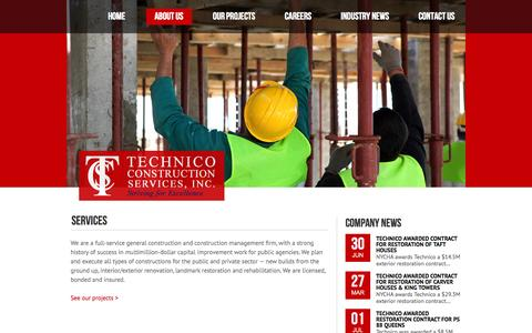 Screenshot of Services Page technico-csi.com - Technico Construction Services, Inc. | SERVICES - captured Oct. 26, 2014