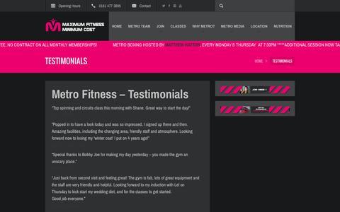 Screenshot of Testimonials Page metro-fitness.co.uk - testimonials | Metro Fitness - captured Feb. 13, 2016