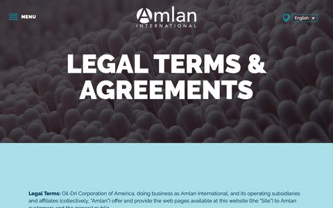 Screenshot of Terms Page amlan.com - Legal - Amlan International - captured Nov. 12, 2018
