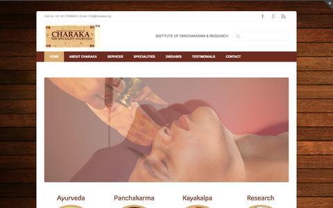Screenshot of Home Page charaka.org - Ayurveda | CHARAKA ~ The Speciality Ayurveda | Best Ayurvedic Hospital | Best Ayurvedic Doctor | Panchakarma | Best Ayurveda Panchakarma Therapy Center | Hyderabad | Secunderabad | India | Telangana | Kerala Ayurveda | Famous Ayurvedic Hospital | Bes - captured Jan. 23, 2015