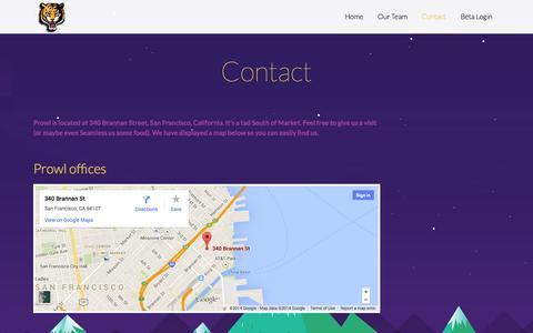 Screenshot of Contact Page getprowl.com - Contact «  Prowl - captured Oct. 3, 2014