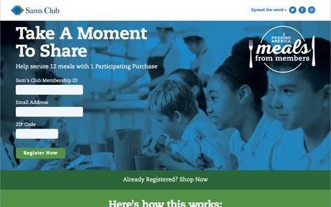 Screenshot of Landing Page samsclub.com - Meals from Members | Help Change Local Lives | Sam's Club - captured March 4, 2018