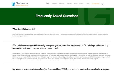 Screenshot of FAQ Page globaloria.com - FAQ - Globaloria - captured May 13, 2017